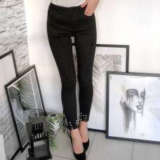 Damen Jeans Hose Deko mit Perlen Denim Jeans grau